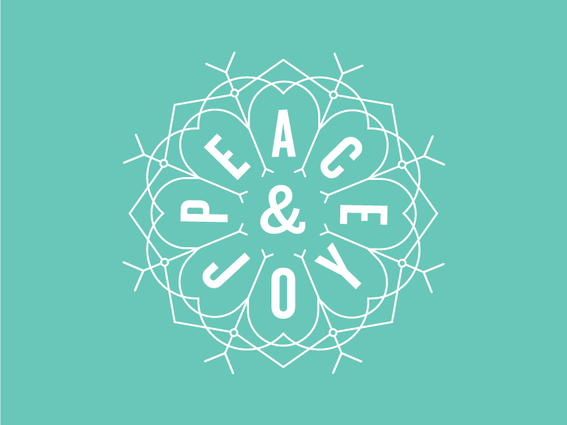 Peace & Joy #3 snowflake radial holiday christmas line work lettering type typography