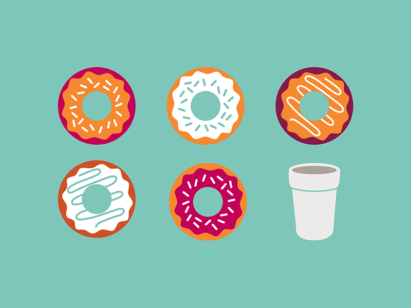Donuts & Coffee illustration cup coffee geometric flat frosting sprinkles donuts