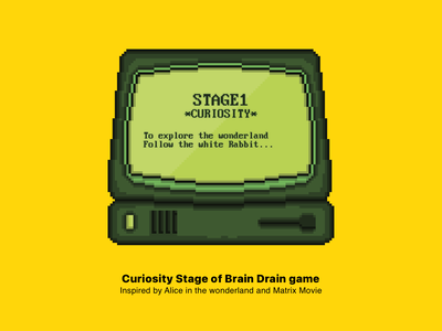 Curiosity Stage - Brain Drain game mobilegaming mobile retro oldcomputer oldpc curiosity apple gamedesign uidesign ui uiux game iphone pixelart
