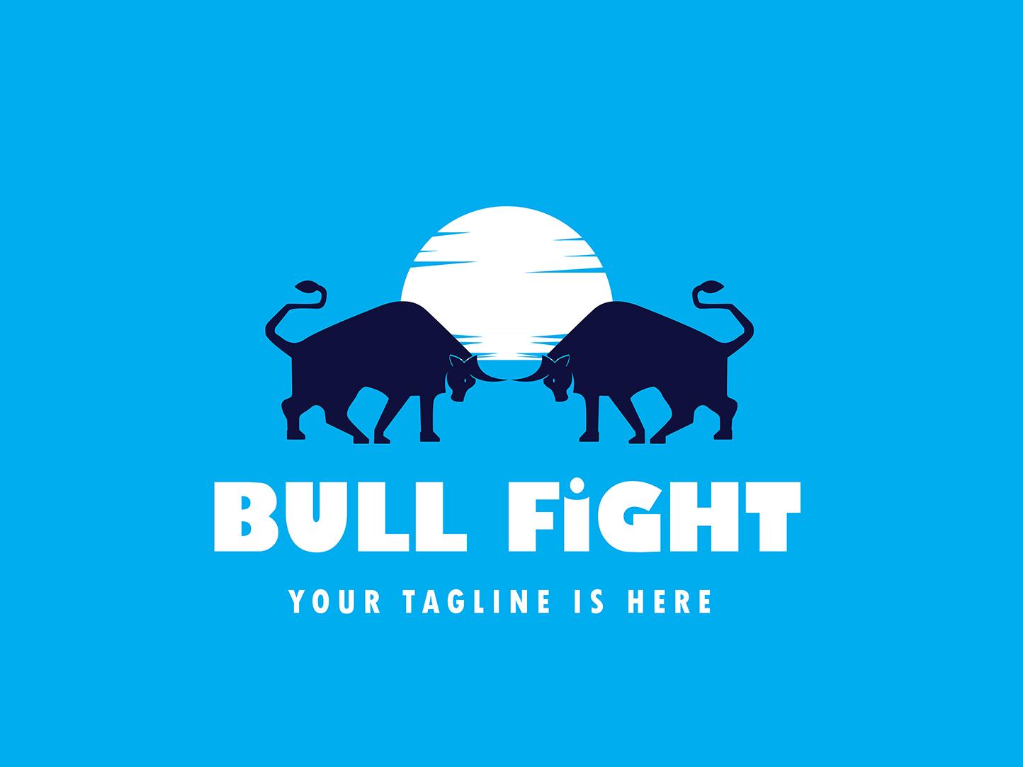 Bull Fight Logo bull bull logo animal logo design creative  design logo design illustration logo