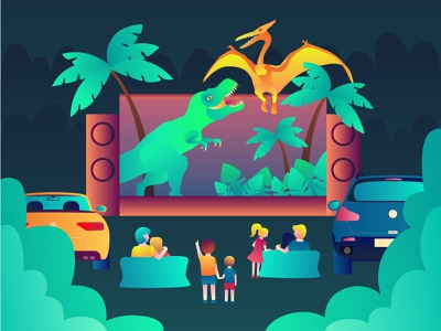 Open air cinema car pterodactyl dinosaur family family holiday evening rest comfort relaxation night evening film movie loudspeakers speakers screen cinema4d open air cinema open air cinema eye