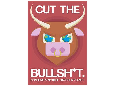 Cut Your Bullsh*t change climate meatfree climatechange flat design vector illustration