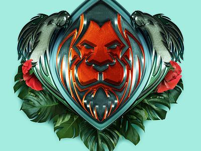 Rawr animal lion illustrator photoshop logomark logo emblem