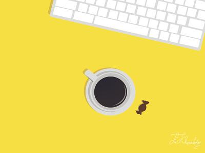 Coffee kosar khonakdar instagram post developer programmer coffee flat art ui vector branding animation design minimal illustration