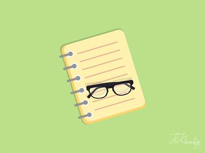 Note book kosar khonakdar eyeglass glasses notebook flat graphic design photoshop illustrator vector branding art animation ui minimal illustration design
