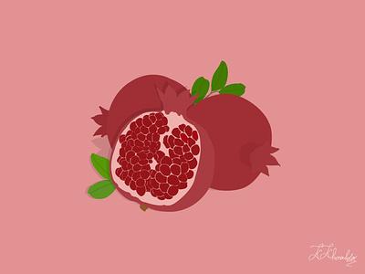 Pomegranate yalda pomegranate kosar khonakdar graphic design flat art illustrator photoshop design vector minimal illustration
