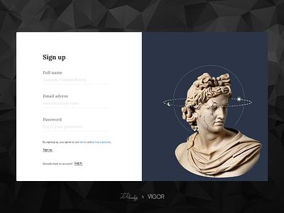 Vigor`s Sign up page kosar khonakdar music webdesign web design branding dadaism xd design xd photoshop minimal art ant design ux ui design