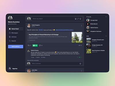Social App Dashboard for Apprise newsfeed feed web design product design web dark social dashboard