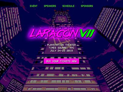 Laracon Website website design logo pink landing page laracon neon 90s 80s pixelart retro