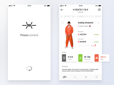 User Profile 𐄂 Daily UI control sketch mobile fun ux ios inspiration design uichallenge challenge jail prison user profile details interface dailyui ui app 100daychallenge
