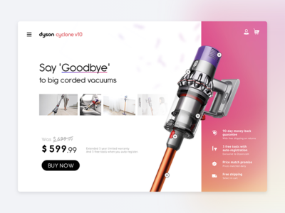 Single Product 𐄂 Daily UI ecommerce ordering fun inspiration design challenge uichallenge single item promo page shop e-commerce dyson commerce ux dailyui 100daychallenge interface ui