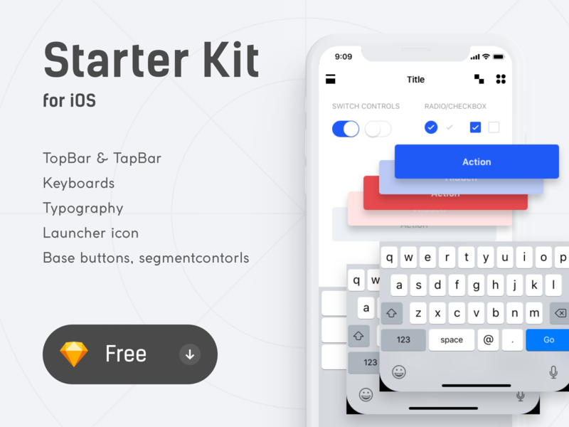 Starter Kit for iOS 𐄂 Free .sketch uikits designsystem freebie kit free sketch freebies free fun mobile interface ios app sketch inspiration ux design ui