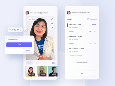 Meetr - App for Video Calls conference call video call interface app ui design information architecture design clean ui ios design mobile ui mobile app app design video ui ux