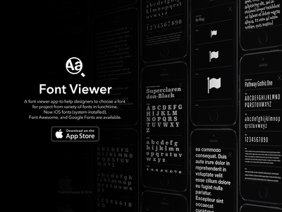 Font Viewer iOS app font ios app black flat iphone ui type typeface typography