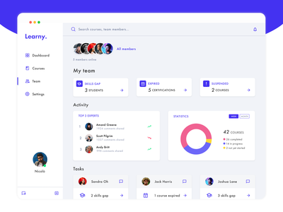 Learny - Learning Platform dashboard design dashboard ui dashboard study learning management system learning platform learning app learning learn challenge ui colorful