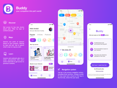 Buddy - Designflows 2020 purple colorful uidesign ui ux ui paywall pets buddy navigation learn discover pet logo pet care pet app bendingspoons designflows2020 designflows