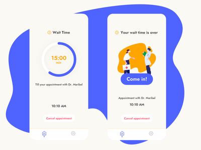 Waiting Room appointment colorful yellow blue waiting room waiting wait doctor appointment doctor app doctor mobile ui mobile app app ui uiux uidesign ui app
