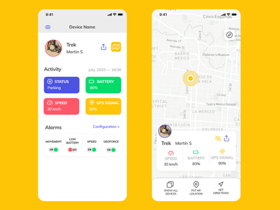 Bicycle App cards card colorful ui ux design ui ux ui tracking app device alarm gps speed battery status bicycle app bicycling bicycle