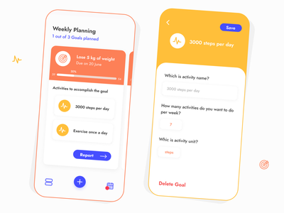 Yourniee - Plan your objectives tracking tracker report goals goal planning plant objective orange yellow card app app ui design ui ux uidesign uiux ui colorful
