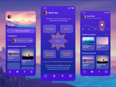 Sanebrain - Stay grounded meditation app meditation feeling yoga app values mindfullness mindfulness mindset mindful mind yoga colorful design app card uidesign ui ux app ui uiux ui