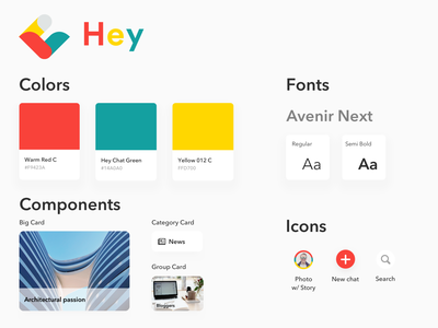 Style Guide  - Hey Chat colors font logo card colorful briefbox style tiles style tile messenger app messenger app colroful design systems design system style guides style style guide styleguide