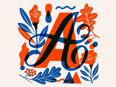 A font blue red and blue red illo illustration typo script handlettering lettering