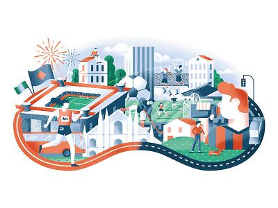 Il Foglio - Lo sport oltre lo sport city illustration composition stadium sport city editorial illustration vector texture dsgn illustration daniele simonelli