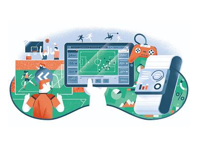 Il Foglio - Lo sport oltre lo sport gaming game sport basketball soccer football var editorial illustration vector texture dsgn illustration daniele simonelli
