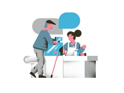 My Pay - Single Customers groceries market elderly spot illustration editorial illustration vector texture dsgn illustration daniele simonelli