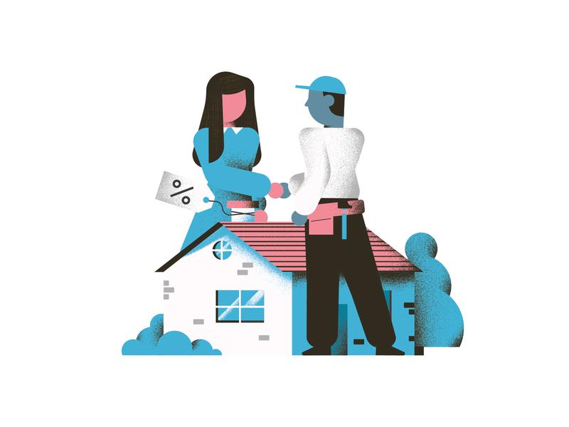 My Pay - Single customer house illustration discount house spot illustration editorial illustration vector texture dsgn illustration daniele simonelli