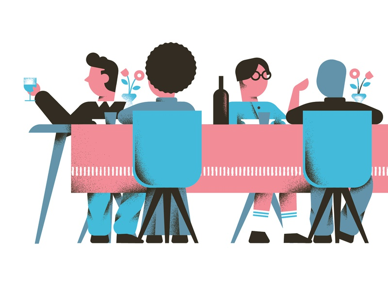 My Pay - Social Table social table lunch cheers people dinner table editorial illustration vector texture dsgn illustration daniele simonelli
