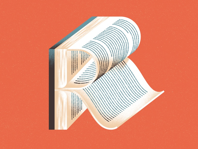 Lettera40 - R is for Reading type textures reading libro lettura lettering letter illustration dsgn book