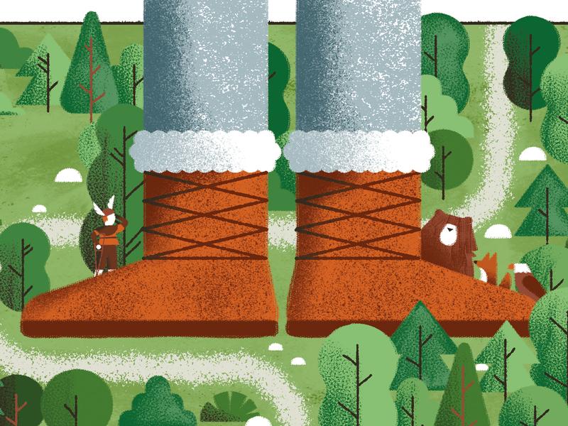 Odd and the Frost Giants - Neil Gaiman map forest wood giant viking eagle fox bear neil gaiman book vector texture dsgn daniele simonelli illustration