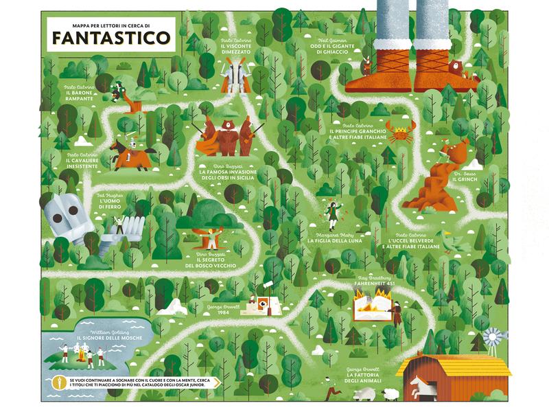 Oscar Junior Mondadori 10 year Special Edition - Fantastic Map book illustration orwel forest wood illustrations literature books characters fantastic illustrated map map vector texture dsgn daniele simonelli illustration