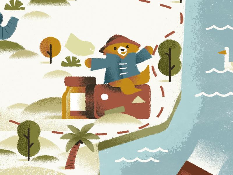 A Bear Called Paddington - Michael Bond seagull adventure bear paddington map texture dsgn daniele simonelli illustration