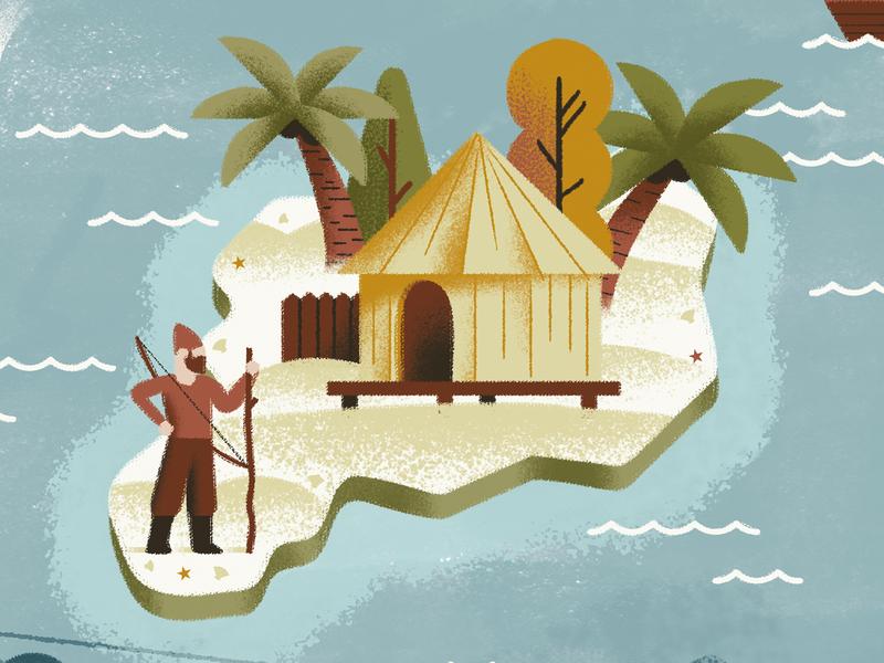 Robinson Crusoe - Daniel Defoe illustrated map robinson crusoe robinson island map texture dsgn daniele simonelli illustration