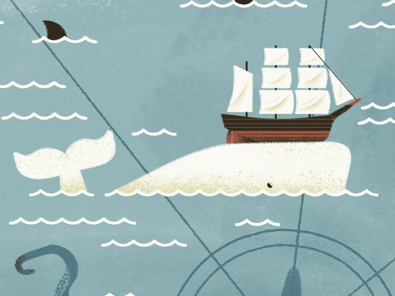 Moby Dick - Herman Melville sea sailer ship illustrated map litterature moby dick whale map texture dsgn daniele simonelli illustration