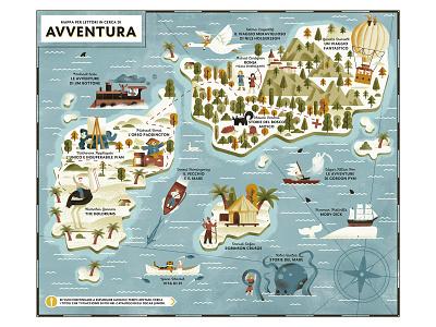 Oscar Junior Mondadori 10 year Special Edition - Adventure Map books litterature adventure pirate map illustrated map map editorial illustration texture dsgn daniele simonelli illustration