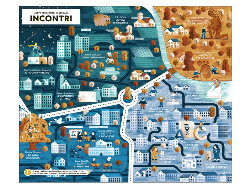 Encounters Mapa - Oscar Junior Mondadori neighborhood tree city illustration city city map map texture dsgn daniele simonelli illustration