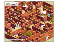 History & Myths Map - Oscar junior Mondadori myth soldier tank war maze labyrinth map texture dsgn daniele simonelli illustration