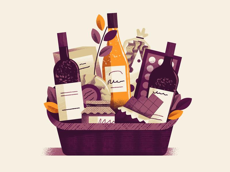 WineExpress - Wine Basket jam chocolate gift gift basket vimini basket wine basket wine editorial illustration vector texture dsgn daniele simonelli illustration