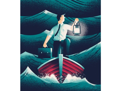 Consulting's new challenges lantern business man consultant boat stormy sea sea texture quartz cover illustration editorial illustration illustration daniele simonelli dsgn