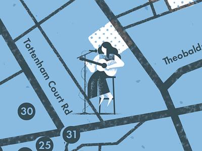 HEAVENLY HAUNTS & HANGOUT MAP guitar music london map illustrated map map vector texture dsgn illustration daniele simonelli