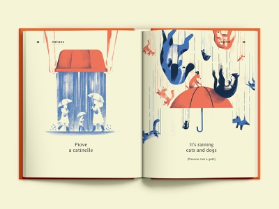 Raining proverbs illustrated book spread page book illustration raining cats and dogs dogs cats rain raining