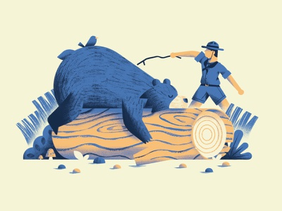 Don't poke the bear nature scout bear vector texture dsgn illustration daniele simonelli