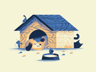 Non svegliare il can che dorme dog illustration sleeping dog sleep kennel mouse bird cat dog book texture dsgn illustration daniele simonelli