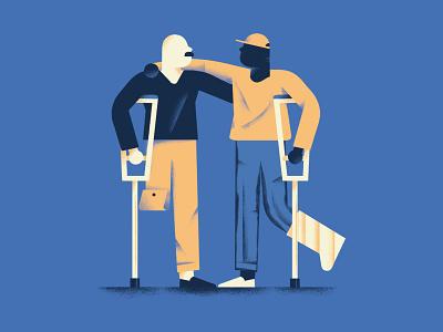 Chi va con lo zoppo impara a zoppicare help people hug crutch lame limp vector texture dsgn illustration daniele simonelli