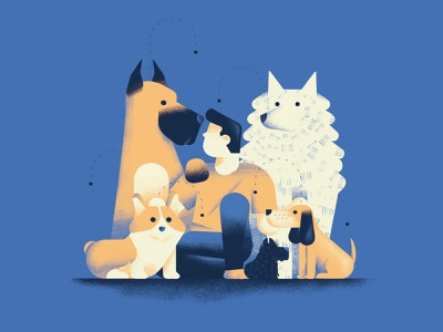 If you lie down with dogs, you will get up with fleas fleas flea corgi dog pack dogs texture dsgn illustration daniele simonelli