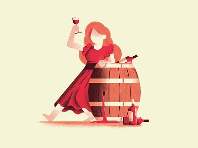 Non si può avere la botte piena e la moglie ubriaca cheers wine barrell woman drunk book texture dsgn illustration daniele simonelli
