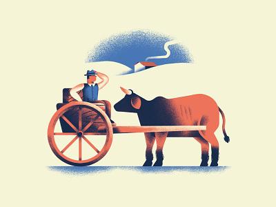Mettere il carro davanti ai buoi proverb country cow ox cart book texture dsgn illustration daniele simonelli